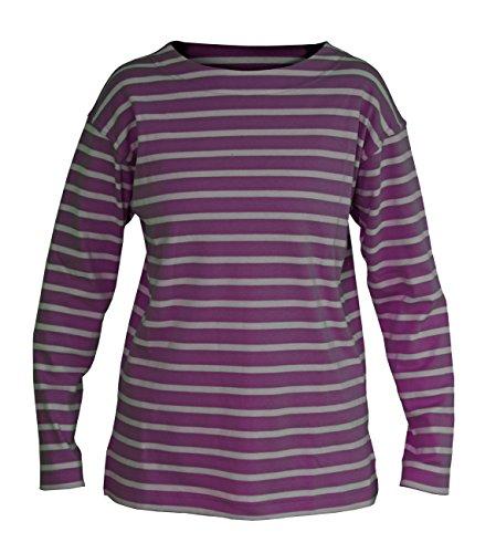 modAS Bretonisches Damen Fischerhemd Langarm Streifen Hemd, Größe:48, Farbe:lila/grau