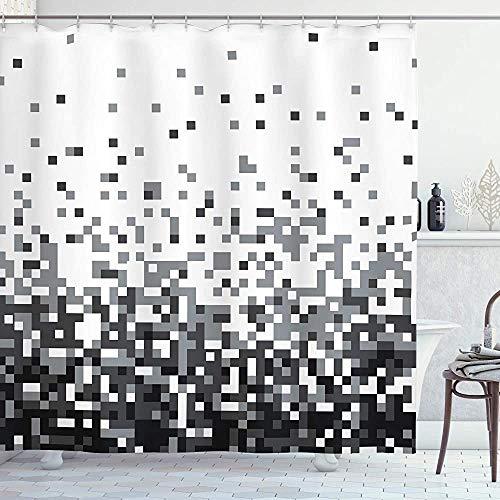 ASDAH Geometrische douchegordijn Graphics Pixel met kleine vierkanten Greyscale Moderne Computer Patroon Doek Stof Badkamer Decor Set met Haken Grijs Ombre 66 * 72in