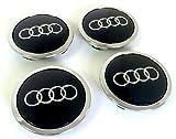 8T0 601 170A Juego de 4 tapas para llantas de aleación, 69 mm, diseño con logotipo de Audi, acabado cromado, negro