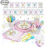 SUNSHINETEK Unicorn Party Supplies Decoraciones Set para niños Fiesta de cumpleaños Set de vajilla desechable Rosa Servicio 16 Invitados