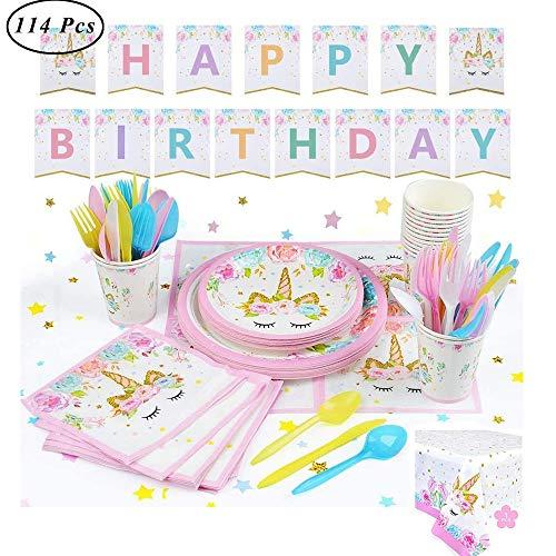SUNSHINETEK Unicorn Party Supplies Dekorationen Set für Kinder Geburtstagsfeier Pink Einweggeschirr Set Service 16 Gäste - 114Pcs