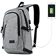 Travelambo Business Water Resistant Polyester Laptop Backpack Travel Bag with USB Charging Port and Lock Fits Under 17-Inch Laptop and Notebook