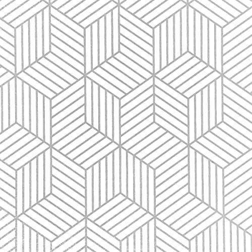 "Wenmer Geometric Hexagon Wallpaper 17.71"" x 394"" Geometric Hexagon Silver Peel and Stick Wallpaper Removable Self Adhesive Wallpaper Vinyl Film Shelf Paper & Drawer Liner Roll for Home Use"