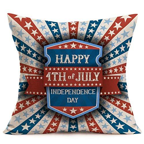 375 Funda de almohada decorativa con diseño de bandera americana, 45,7 x 45,7 cm, algodón y lino, estrellas (VL13)