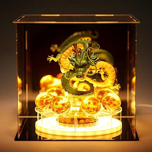 Shenron Figure Dragon Shenlong Statue Set + 3.5cm Crystal Balls + Acrylic Shelf Charging Light or Acrylic Display Box for Business Halloween Christmas Holiday and Birthday Home Decoration (Set C)