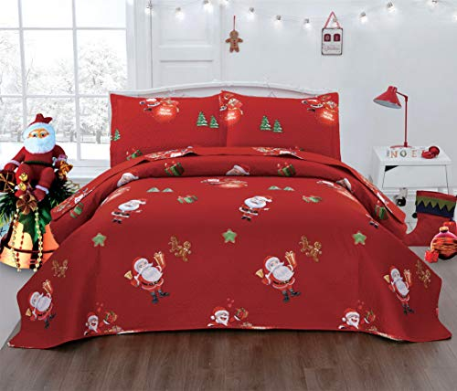 JARSON Red Christmas Quilts Set Lightweight Bedspreads King Size,3Pcs Cute Santa Claus Bedding Reversible Christmas Tree Gifts Star Gingerbread Man Coverlets Pillow Shams New Year Decoration