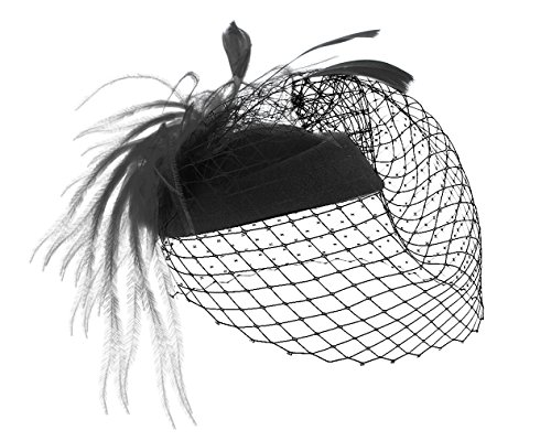 MBZY Tocado de Pelo Plumas Mujer Sombrero con Malla Vintage Boda Noche Fiesta Negro