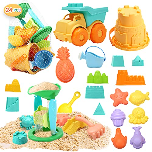 CUTE STONE 24 PCS Beach Sand Toys Set Sandbox Toys with Dump Truck  Castle & Animals Sand Molds  Bucket  Sand Water Wheel  Shovels  Carry Mesh Bag  Outdoor Kit for Kids  Toddlers