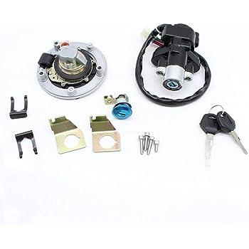 YHMTIVTU Ignition Switch Fuel Gas Cap Seat Lock Key Set for Suzuki GSXR600//750//1000 04-15