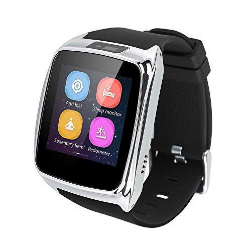 Doneioe Reloj Inteligente Bluetooth 4.0 para iOS Android Teléfonos Inteligentes i Phone 6 6 Plus de Sam-Sung HTC Xiao-mi con Función de Anti-pérdida Alarma Monitor de Sueño Podómetro (Plata)