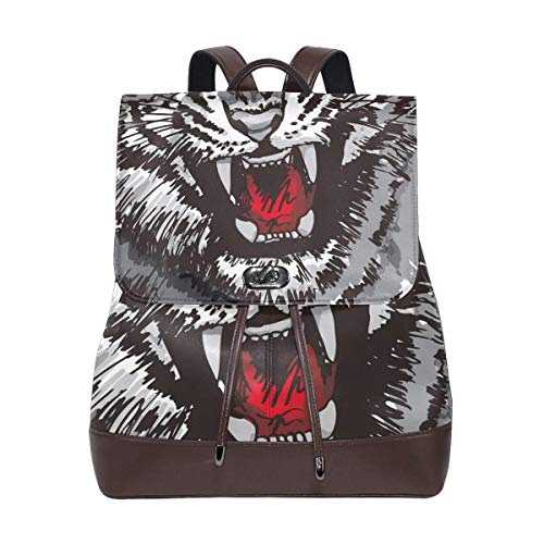Yuanmeiju Leather Backpack Rucksack Art Animal Face Tiger Howling Daypack Bags for Girls Boys
