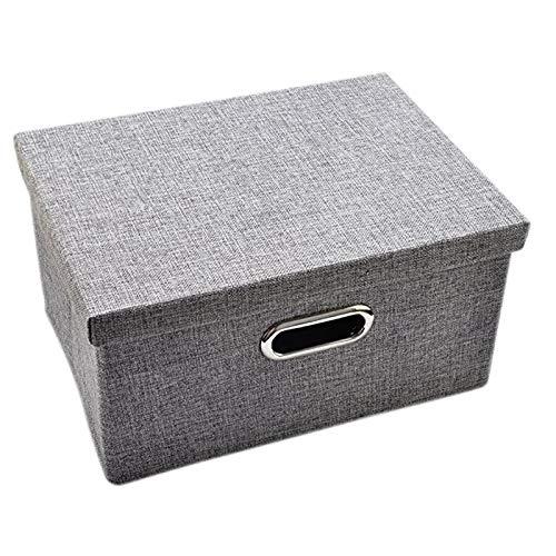 Domilay Caja de Almacenamiento con Tapa, (Aproximadamente 37.5X 27 X 25 Cm) Caja de Almacenamiento Plegable, Armario Grueso, Almacenamiento de Dormitorio-Gris
