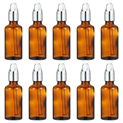 HEALLILY 10 Piezas 50 Ml Botellas de Aceite Esencial Frascos Cuentagotas de Vidrio Ámbar Frascos Dispensadores de Perfume Vacíos Envases de Muestras de Cosméticos para Perfume Esencia de