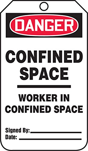 Accuform TCS332PTP RP-Plastic Confined Space Tag, Legend'DANGER Confined Space Worker In', 5.75'Largo x 3.25' Ancho x 0.015' Espesor, Rojo/Negro sobre Blanco (Paquete de 25)