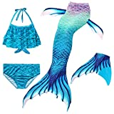 Le SSara Mermaid Tail Swimmable Bikini Swimming Costumes with Colorful fin 4pcs Sets for Little Girls Kids Child and Women (130, GB01-Blue)
