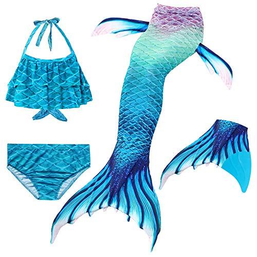 Le SSara 2018 Mädchen Meerjungfrau Tails Bikini Badeanzug setzt 4 Stücke Bademode mit Flosse für Schwimmen Cosplay Partei (140, GB01-Blue)