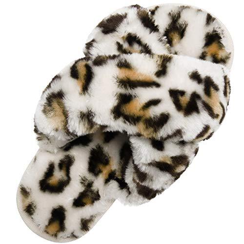 Women's Cross Band Soft Plush Fleece Slippers for Indoor Outdoor House Slides Slippers for Women White 8.5-9.5