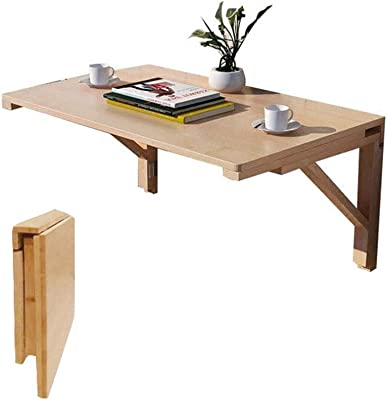 Q&Z Folding Wall Mounted Drop Leaf Table,60X40cm Wooden Kitchen Dining Laptop Computer Desk Child Learning Multi-Use Space Saving Hanging Table Simple Installation