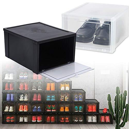 TFCFL Juego de 2 cajas de zapatos de cartón negro para zapatos, de polipropileno, apilables
