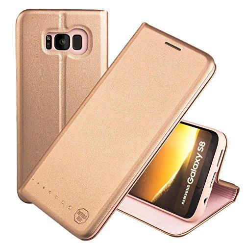 Nouske Custodia a Portafoglio per Samsung Galaxy S8/Guscio Antiurto in TPU/Porta Carta di Credito/Funzione di Supporto/Design Semplice e supersottile/Chiusura maghetica,Rosa Oro