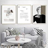 ファッションウーマンウォールアートポスターとプリントブラックホワイト抽象的な美しさの引用キャンバス絵画ミニマリストスカンジナビアの家の装飾/ 50x70cmx3Pcs-フレームなし