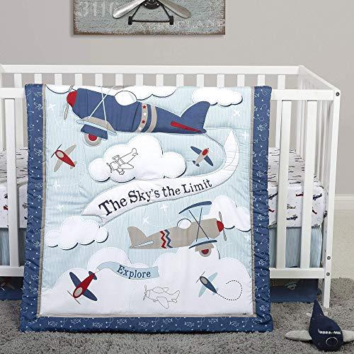 Sammy & Lou Adventure Awaits Vintage Airplane Theme Nursery 4 Piece Baby Boy Crib Bedding Set