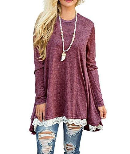 Bequemer Laden Pullover Damen Strickpullover Casual Loose Sweater Lange Sweatshirt Langarmshirt Oberteile Tunika Vorderer Saum mit Spitze,Rot,L