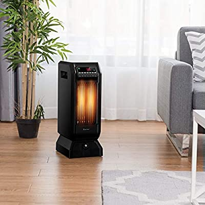 Handy Humidifier Tower Ingle Motor 3 Level 4 Quartz Fast Heating 1500W Quiet Overheat Protection with Timer Remote Control Convenient Everywhere Use Black Fire Place Pit Area Heater