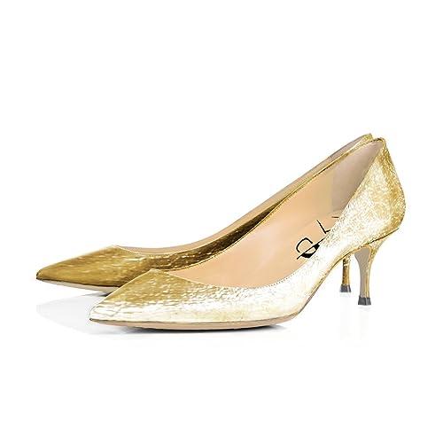 83c05ccf595 XYD Office Formal Dress Pumps Pointy Toe Kitten Low Heels Comfortable Slip  On Shoes for Women