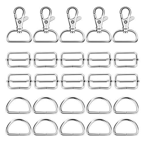 ZERHOK 66Stk Drehgelenk Karabinerhaken D-Ring Schiebeschnalle Gurtversteller Set DIY Handwerk Rucksackschnalle Spannschnallen für Taschen Gürtel Nähen Zubehör