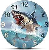 dh-9 Reloj de Pared Hungry Great White Shark Reloj de Pared para habitación de niños Sea Lift Art Decoración del hogar Océano Animal Acuario Silencioso Sin tictac