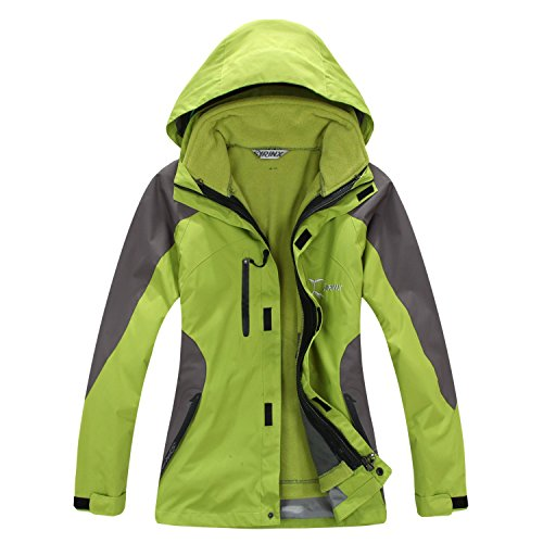 SYRINX Damen 3 in 1 Winddicht Wasserdicht Atmungsaktiv Hardshelljacke mit Fleecejacke Camping Wandern Outdoor Jacke (Medium, Grün)