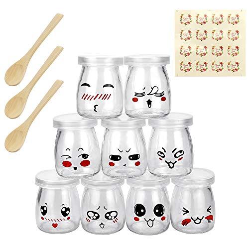 LYTIVAGEN 9 PCS Vasos para Yogurtera Transparente Tarro de Vidrio con Tapa Botes Herméticos Tarro de Mermelada con 3 Cucharas de Madera para Yogur, Leche, Pudín, Mermelada, Gelatina (100 ml)