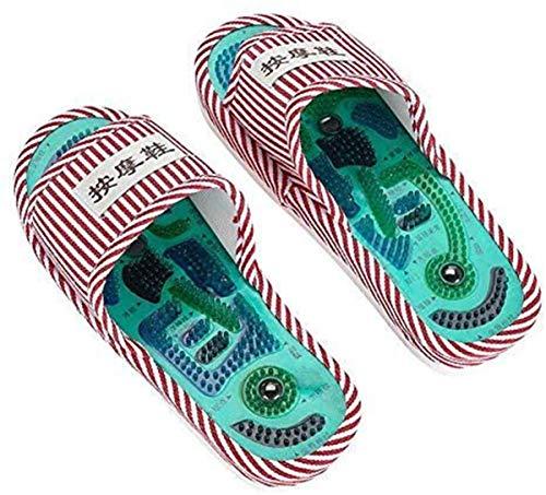 LJT Zapatillas de Masaje de acupresión Unisex, Zapatos de Masaje de Terapia magnética, Zapatos de Masaje relajantes para pies activadores de Sangre para el Cuidado de la Salud,Pink Stripes,One Size