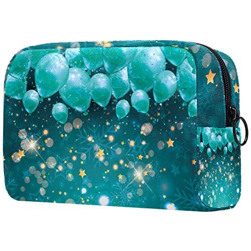 KAMEARI Kosmetiktasche Luftballons Gelb Sterne Schneeflocken Grün Groß Kosmetiktasche Organizer Multifunktionale Reisetasche