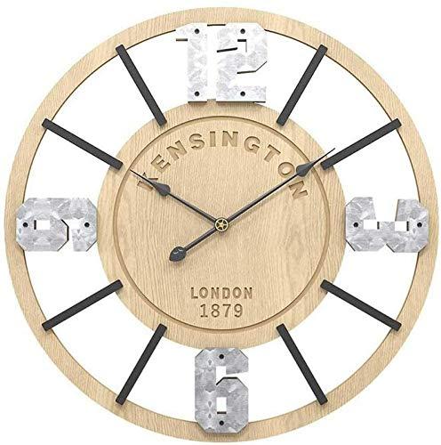 aipipl Reloj de Pared 3D Reloj de Cocina silencioso Relojes de Pared Números de Madera, Reloj con Marco de Madera para Oficina en casa Aula Escuela 50Cm