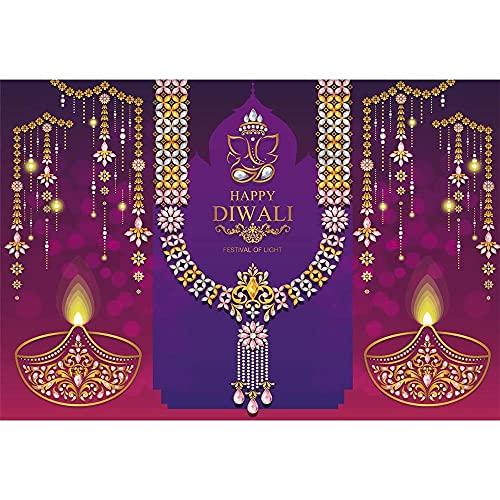 Fondo de Festival de Velas de Diwali Feliz apoyos Cristal Dorado mitología India Fondo de fotografía en Color A3 10x7ft / 3x2.2m
