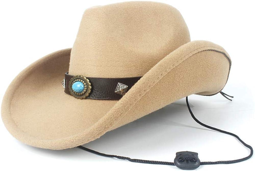 sun hat Women Men Wool Hollow Western Cowboy Hat Gentleman Roll