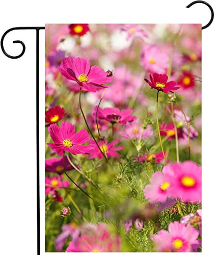 "laolang Spring Pink Flowers Summer Floral Cosmos Plant Field Seasonal Garden Yard Flag 12""x 18"" Double Sided Polyester Welcome House Flag Banners for Patio Lawn Outdoor Home Decor"