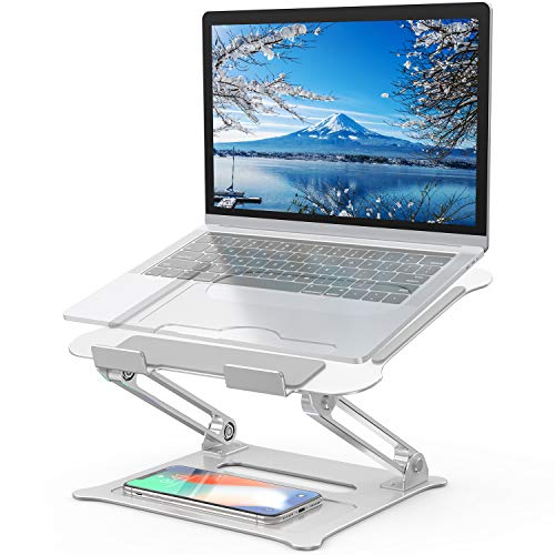 Adjustable Laptop Stand, FYSMY Ergonomic Portable Computer Stand with Heat-Vent to Elevate Laptop, 13 Lbs Heavy Duty Laptop Holder Compatible with MacBook, Air, Pro All Laptops (New-Silver)