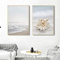 北欧の海景ビーチキャンバス絵画貝殻壁アートポスター写真バスルームリビングルームの装飾(30x40cm)x2 フレームなし