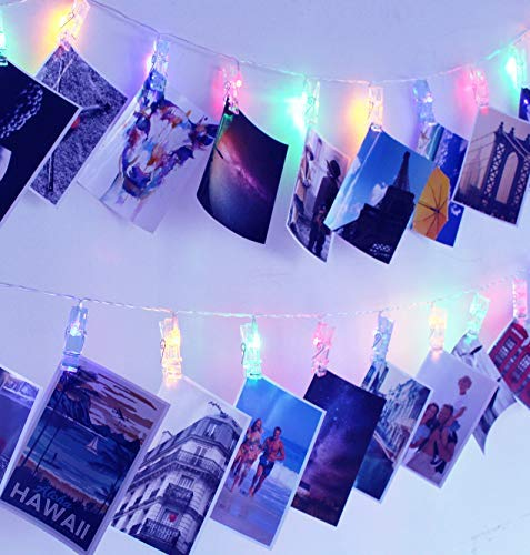 SuperDecor 30 Led Photo Clips Outdoor Christmas String Lights 12ft USB Operated Fairy Lights Patio Lights for Xmas, Bedroom, Indoor, Party, College Dorm Room, Ideal Girls Gift Multicolor