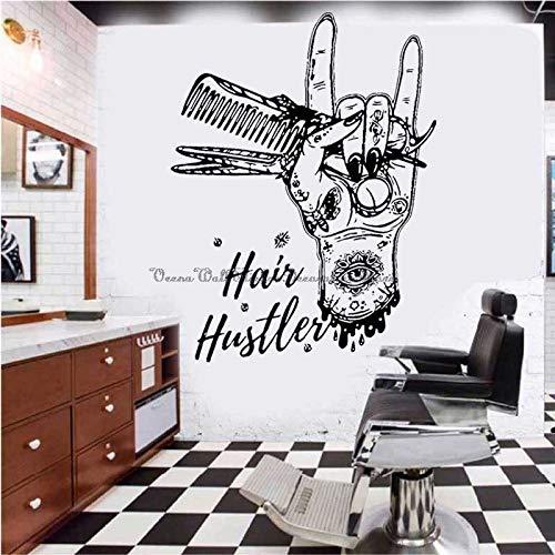Blrpbc Adhesivos Pared Pegatinas de Pared Herramientas de barbero Tijeras de Peluquero Peine Peluquería Peluquería Salón Ventana Puerta Calcomanías de Vinilo Decorativas 114x150cm