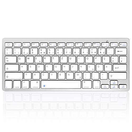 HANYEAL Tragbare schlanke kabellose universelle kabellose Bluetooth-Tastatur mit Schnellantworttasten für iPad Mini, Air, Pro, neues iPad, iPhone, Android-Smartphone (White)
