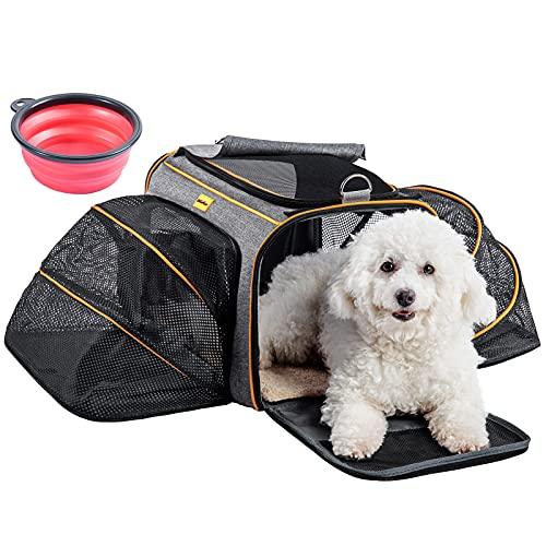 HelloMiao Pet Cat Dog Travel Carrier, borsa da viaggio espandibile su 2 lati, per la maggior parte delle compagnie aeree e per animali domestici, portata massima per animali domestici da 12.9 kg