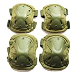 WELLSEM Outdoor Sports Tactical Combat Knee & Elbow Protective Pads Skate Knee 4Pcs/Set (Navy Green)