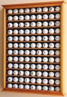 108 Golf Ball Display Case Cabinet Wall Rack Holder w/ UV Protection -Walnut