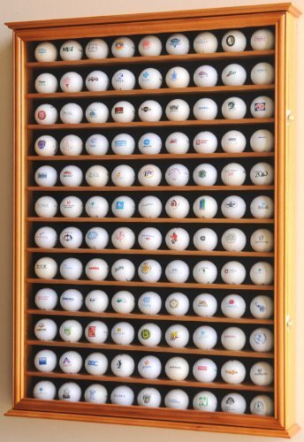 108 Golfball-Vitrine, Wandhalterung mit 98 % UV-Schutz, abschließbar, Kirschrot