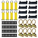 E-Track Tie-Down KIT! 4 Powder-Coated 5' Horizontal E Track Rails, 8 End Caps, 8 Rope Tie-Offs, 8 O Rings |...