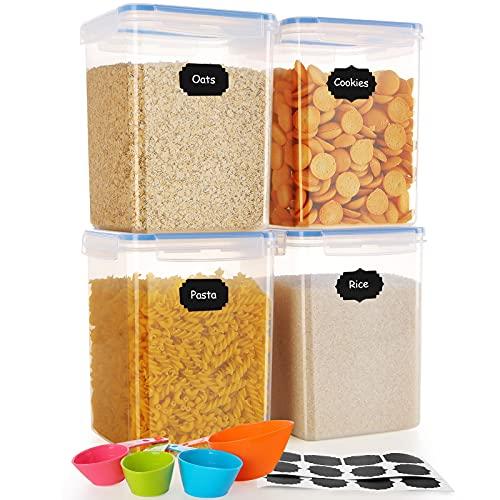 SOLEDI Aufbewahrungsbox mit Deckel Küche Groß Vorratsdosen Luftdicht Schüttdosen Set für Mehl Nudeln Müsli Reis Zucker 4 Teiliger (4*5.2L)